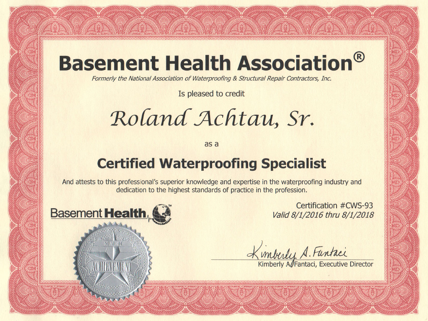 Delightful Basement Health Association Membership Certificate